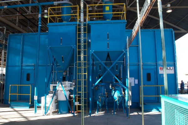 USAF Stripping Booth with Vibratory & Dense Particle Separator (White & gray equipment)