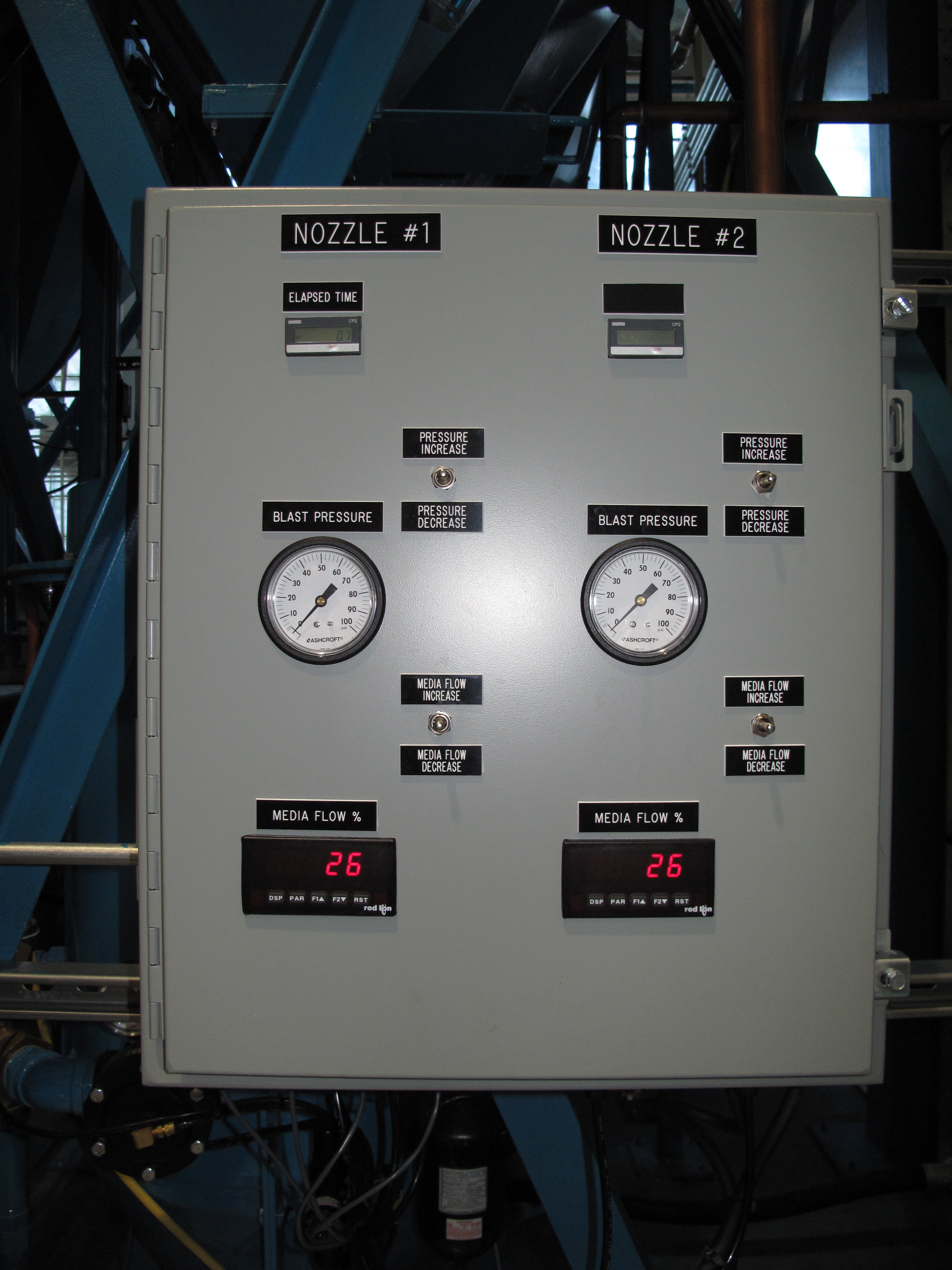 Stripping Process Control Panel; Time, Pressure, Media Flow